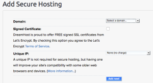 Dreamhost Control Panel to Add Secure Hosting
